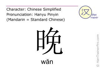 汉字  ( wan / wăn ) 包括发音 (英文翻译: evening )