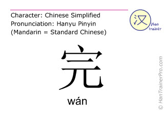 Chinese characters  ( wan / wán ) with pronunciation (English translation: to finish )