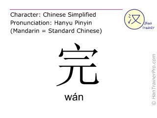 Chinesische Schriftzeichen  ( wan / wán ) mit Aussprache (Deutsche Bedeutung: beenden )