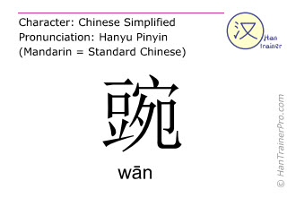 Chinese characters  ( wan / wān ) with pronunciation (English translation: pea )