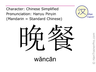 Chinese characters  ( wancan / wăncān ) with pronunciation (English translation: dinner )