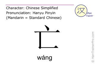Chinesische Schriftzeichen  ( wang / wáng ) mit Aussprache (Deutsche Bedeutung: sterben )