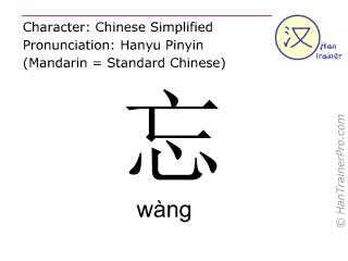 Caracteres chinos  ( wang / wàng ) con pronunciación (traducción española: olvidar )