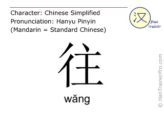 Chinese characters  ( wang / wăng ) with pronunciation (English translation: to go )