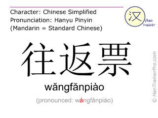 Caractère chinois  ( wangfanpiao / wăngfănpiào ) avec prononciation (traduction française: billet aller-retour )