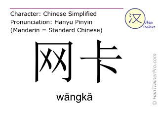 Chinesische Schriftzeichen  ( wangka / wăngkă ) mit Aussprache (Deutsche Bedeutung: Netzwerkkarte )