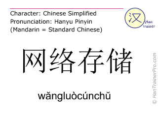 Chinese characters  ( wangluocunchu / wăngluòcúnchŭ ) with pronunciation (English translation: network storage )