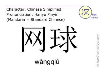 汉字  ( wangqiu / wăngqiú ) 包括发音 (英文翻译: tennis )