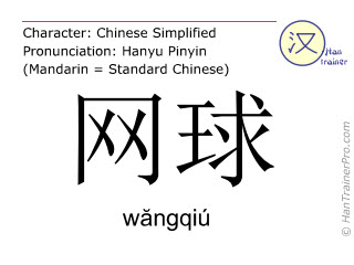 Chinese characters  ( wangqiu / wăngqiú ) with pronunciation (English translation: tennis )
