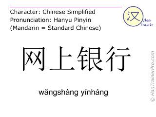 Caractère chinois  ( wangshang yinhang / wăngshàng yínháng ) avec prononciation (traduction française: banque en ligne )