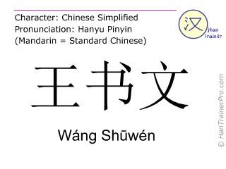 Chinesische Schriftzeichen  ( Wang Shuwen / Wáng Shūwén ) mit Aussprache (Deutsche Bedeutung: Wang Shuwen  )