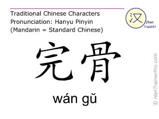 Chinesische Schriftzeichen  ( wan gu / wán gŭ ) mit Aussprache (Deutsche Bedeutung: Gallenblase 12 )