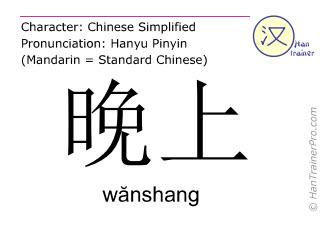 Caracteres chinos  ( wanshang / wănshang ) con pronunciación (traducción española: tarde )