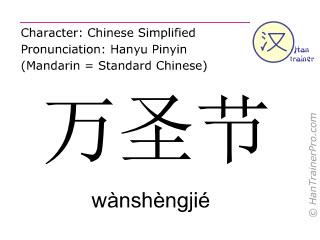 Chinesische Schriftzeichen  ( wanshengjie / wànshèngjié ) mit Aussprache (Deutsche Bedeutung: Halloween )