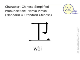 Chinese characters  ( wei / wèi ) with pronunciation (English translation: to defend )