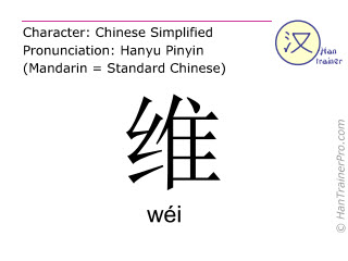 Chinese characters  ( wei / wéi ) with pronunciation (English translation: to maintain )