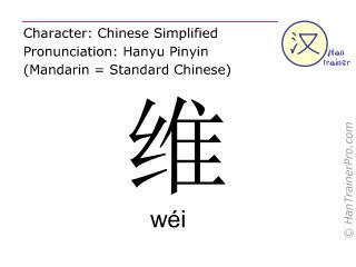 Chine&shy;sische Schrift&shy;zeichen  ( wei / w&eacute;i ) mit Aussprache (Deutsche Bedeutung: <m>aufrechterhalten</m> )