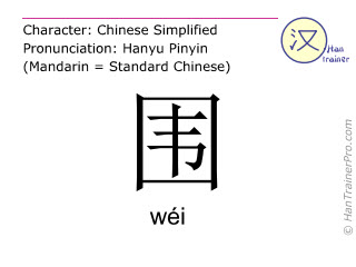 Chinese characters  ( wei / wéi ) with pronunciation (English translation: to surround )