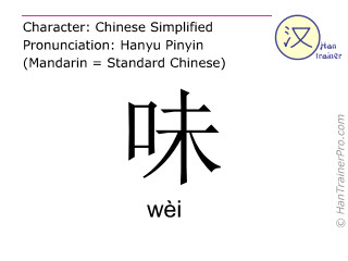 Chinese characters  ( wei / wèi ) with pronunciation (English translation: <m>taste</m> )