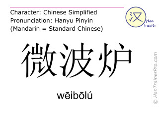 Chinese characters  ( weibolu / wēibōlú ) with pronunciation (English translation: microwave oven )