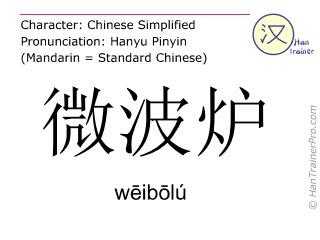 Caracteres chinos  ( weibolu / wēibōlú ) con pronunciación (traducción española: microondas )