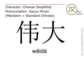 Chinesische Schriftzeichen  ( weida / wĕidà ) mit Aussprache (Deutsche Bedeutung: großartig )