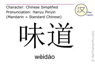 Chinese characters  ( weidao / wèidào ) with pronunciation (English translation: taste )