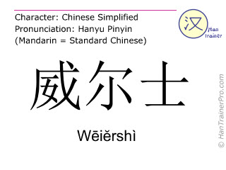 Chinese characters  ( Weiershi / Wēiĕrshì ) with pronunciation (English translation: Wales )