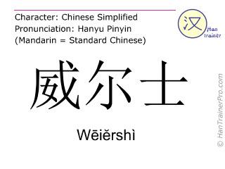 汉字  ( Weiershi / Wēiĕrshì ) 包括发音 (英文翻译: Wales )