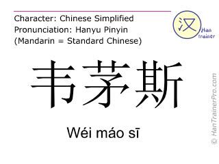 Chinesische Schriftzeichen  ( Wei mao si / Wéi máo sī ) mit Aussprache (Deutsche Bedeutung: Weymouth )