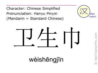Chinesische Schriftzeichen  ( weishengjin / wèishēngjīn ) mit Aussprache (Deutsche Bedeutung: Damenbinde )