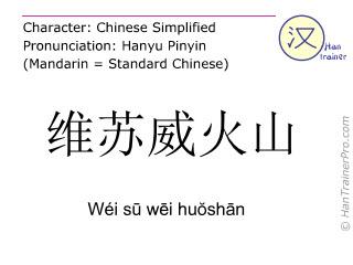 汉字  ( Wei su wei huoshan / Wéi sū wēi huŏshān ) 包括发音 (英文翻译: Vesuvius )