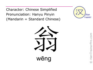 Chinese characters  ( weng / wēng ) with pronunciation (English translation: old man )