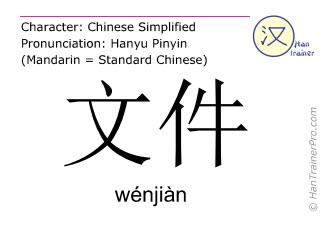 汉字  ( wenjian / wénjiàn ) 包括发音 (英文翻译: file )
