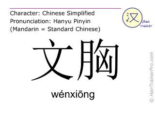 Chinesische Schriftzeichen  ( wenxiong / wénxiōng ) mit Aussprache (Deutsche Bedeutung: BH )
