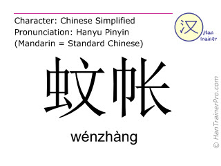 Chinese characters  ( wenzhang / wénzhàng ) with pronunciation (English translation: mosquito net )