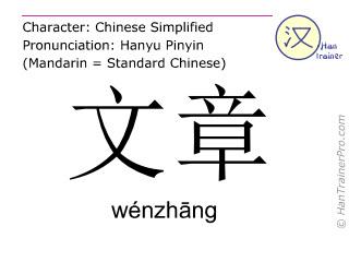 汉字  ( wenzhang / wénzhāng ) 包括发音 (英文翻译: writings )