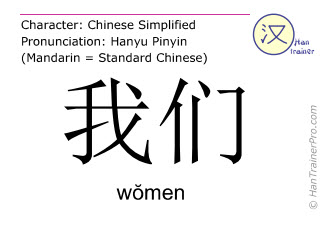Chinese characters  ( women / wŏmen ) with pronunciation (English translation: we )
