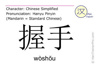Chinese characters  ( woshou / wòshŏu ) with pronunciation (English translation: to shake hands )