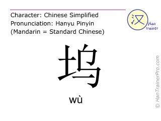 Chinese characters  ( wu / wù ) with pronunciation (English translation: <m>dock</m> )