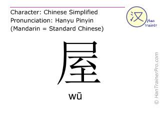 Chinesische Schriftzeichen  ( wu / wū ) mit Aussprache (Deutsche Bedeutung: Haus )