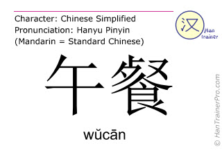 Chinese characters  ( wucan / wŭcān ) with pronunciation (English translation: lunch )