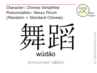 Chinese characters  ( wudao / wŭdăo ) with pronunciation (English translation: dance )
