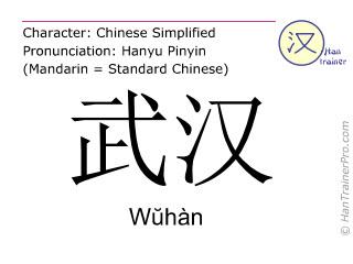 Chinesische Schriftzeichen  ( Wuhan / Wŭhàn ) mit Aussprache (Deutsche Bedeutung: Wuhan )