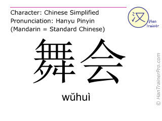 Caracteres chinos  ( wuhui / wŭhuì ) con pronunciación (traducción española: danza )