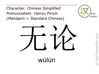Chinese characters  ( wulun / wúlùn ) with pronunciation (English translation: no matter what )