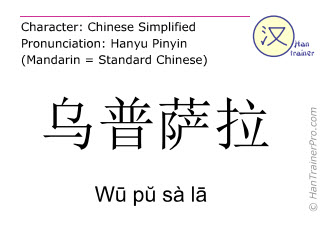 Chinese characters  ( Wu pu sa la / Wū pŭ sà lā ) with pronunciation (English translation: Uppsala )
