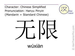 Chinesische Schriftzeichen  ( wuxian / wúxiàn ) mit Aussprache (Deutsche Bedeutung: unbeschränkt )