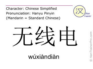 汉字  ( wuxiandian / wúxiàndiàn ) 包括发音 (英文翻译: radio )