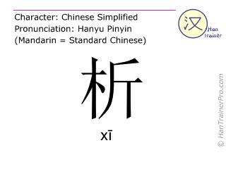 Caractère chinois  ( xi / xī ) avec prononciation (traduction française: analyser )